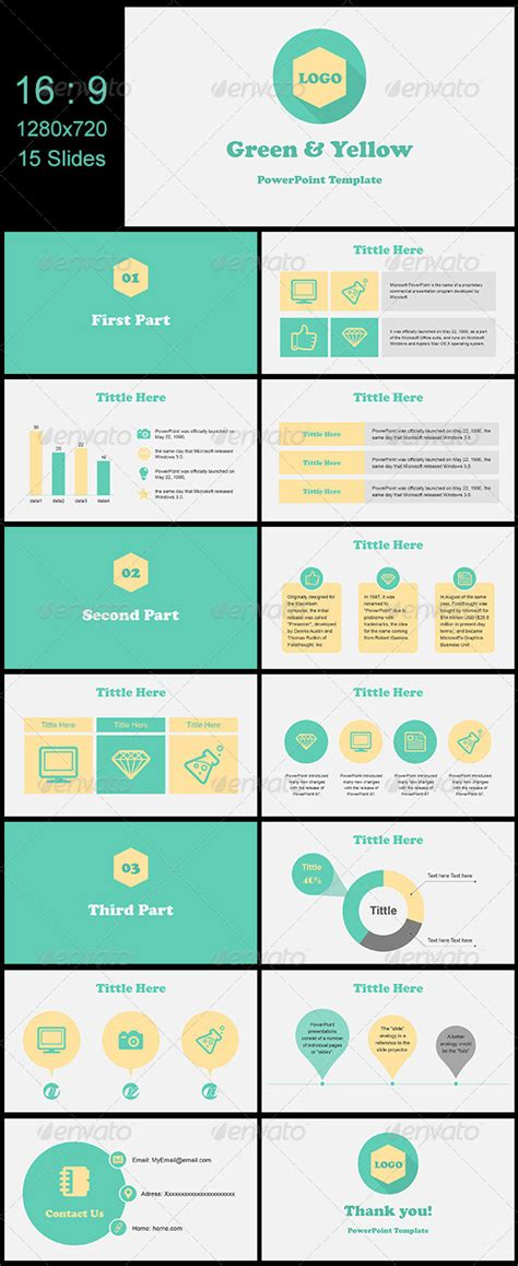 templates powerpoint pinterest green yellow presentation design presentation