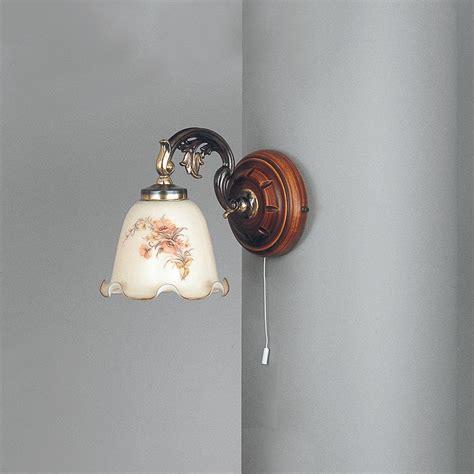 applique in vetro applique in ottone legno e vetro soffiato 1 luce verso
