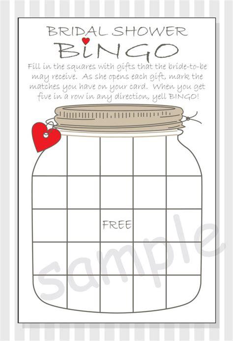 bridal shower bingo template blank diy bridal shower bingo printable cards rustic jar