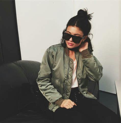 sunglasses jenner bomber jacket khaki jacket