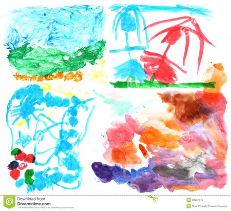 painting for three year olds children s watercolor paintings 2 stock photo image