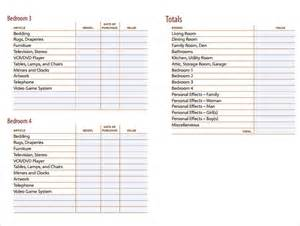 sample home inventory template free documents download