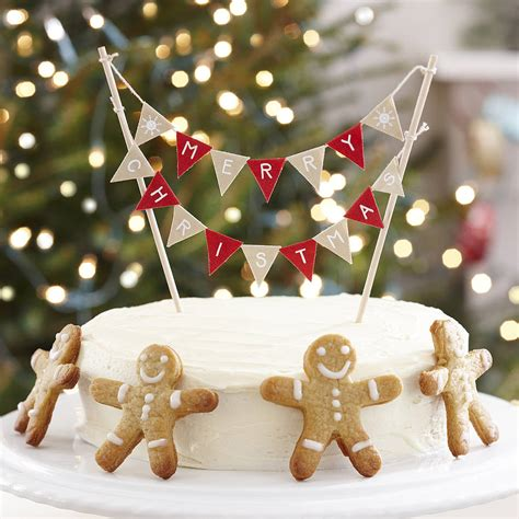 vintage style christmas cake bunting by ginger ray