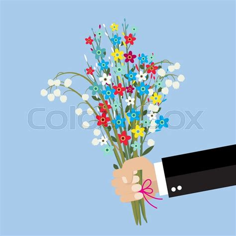 Wedding Bouquet Illustration by Businessman Holding Bouquet Flowers Vector