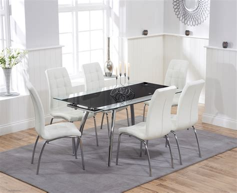 black glass extending dining table 6 chairs black glass extending dining table 6 chairs heartlands