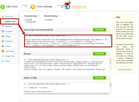 webpage pattern javascript how to embed forms on adobe muse websites