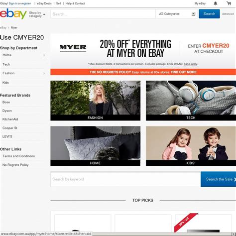 ebay ozbargain 20 off everything myer on ebay ozbargain