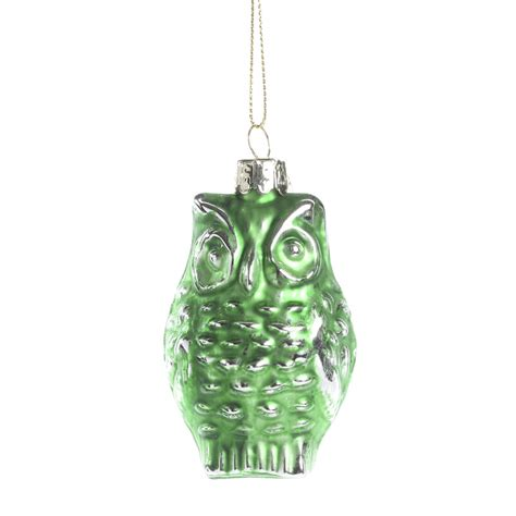 green mercury glass owl ornament christmas ornaments