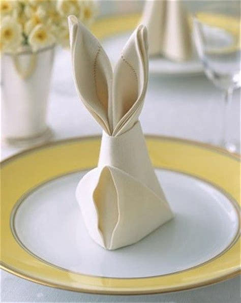 Easter Paper Napkin Folding - easter bunny napkin fold entertaining outdoor