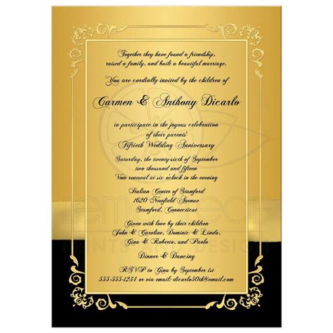 Sweet Designs Kitchen 50th Wedding Anniversary Invitation Black And Gold
