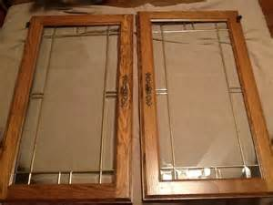 beveled glass door panels tall oak wood cabinet doors leaded glass inserts oak euc