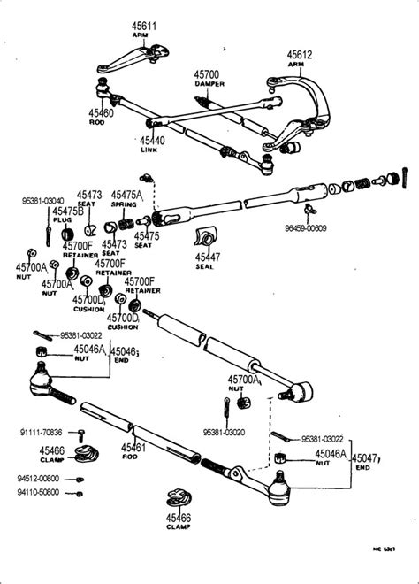1982 Toyota Parts 1982 Toyota Front Steering Gear Link