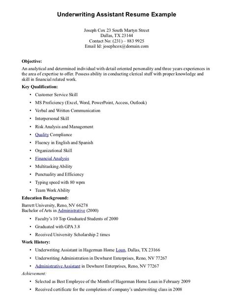 Underwriter Resume by Underwriting Assistant Resume Underwriting Assistant
