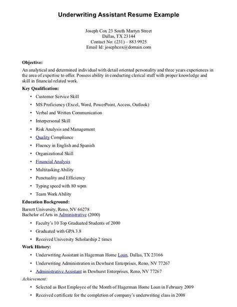 Casualty Underwriter Resume by Underwriting Assistant Resume Underwriting Assistant