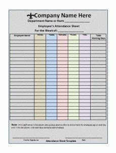 daycare sign  sheet template weekly   daycare