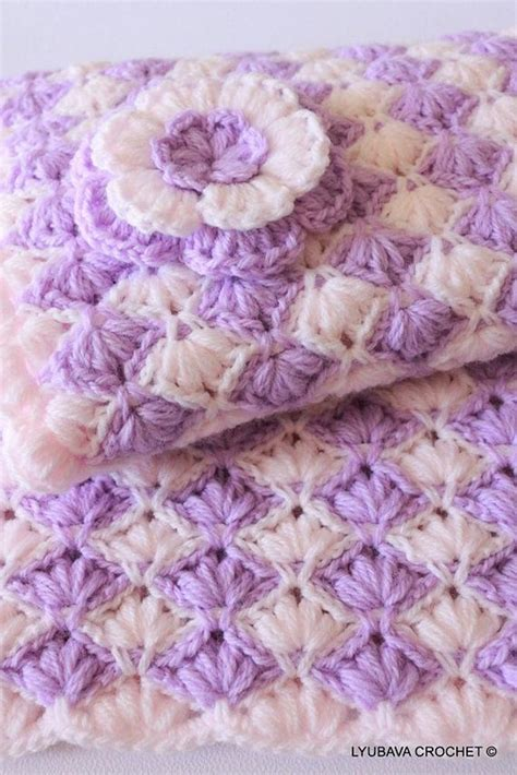 Blue Flower Puff Scarf baby blanket quot lilac quot with puff flower crochet pattern