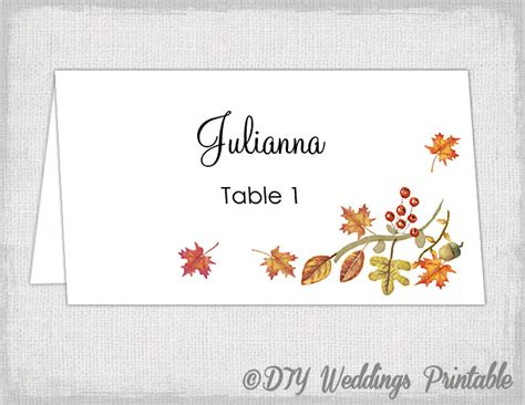 Printable Fall Place Cards Template by Printable Place Card Template Fall Name Cards Diy