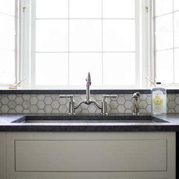 large white hexagonal tile backsplash hodge podge kitchens carrera marble tiles design ideas