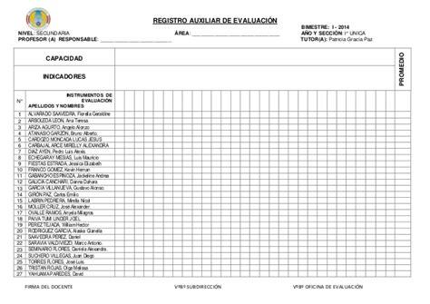 formato de registro auxiliar con rutas de aprendizaje registro auxiliar de evaluaci 243 n secundaria con nombres 2014