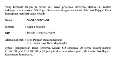 contoh surat kuasa pengambilan beasiswa miskin di