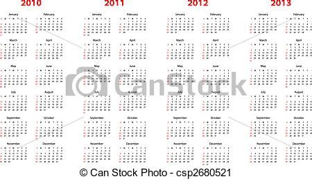 Can Calendrier 2013 Vector Clip Of Calendar For 2010 Through 2013 Simple