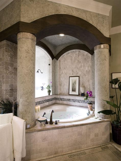 from blah to spa elements of great bathroom design now there s a tub and enclosure give it tuscan