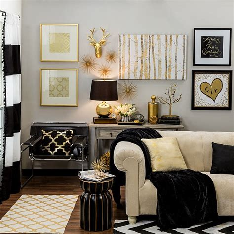 black white and gold home decor bring home big city style with metallic gold and black