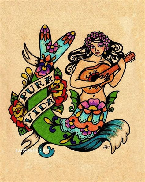 pura vida tattoo designs mermaid pura vida mexican folk print 8 x 10 or 11