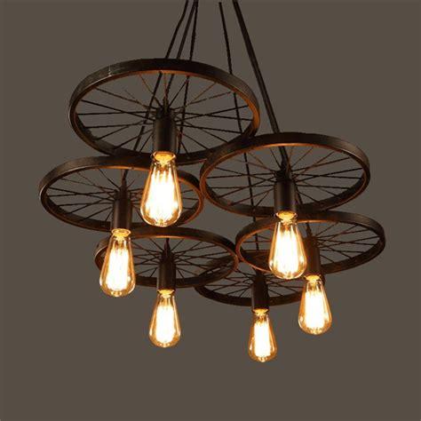 industrial style lighting chandelier aliexpress com buy wrought iron wheel pendant light