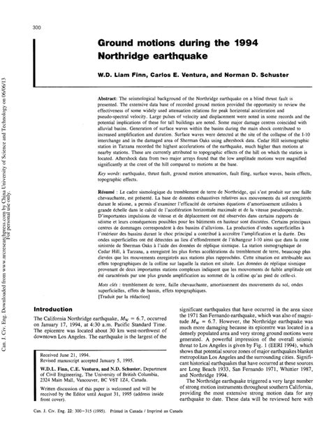 earthquake journal pdf ground motions during the 1994 northridge pdf download