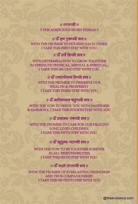 Wedding Vows Meaning by Saat Phere Cards Search Wedding
