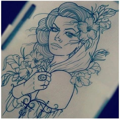 gypsy girl tattoo design outline design