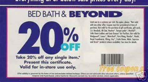 Bed Bath And Coupon by Free Printable Coupons Bed Bath And Beyond Coupons