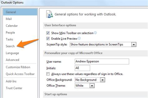 Search Email In Outlook 2013 How Do I Set The Default Search Folder In Outlook 2013