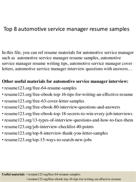resume format for automotive service manager top 8 automotive service manager resume sles