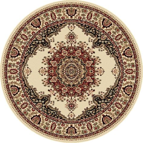 Tayse Rugs Sensation Beige 5 Ft 3 In Traditional Round 3 Foot Area Rugs