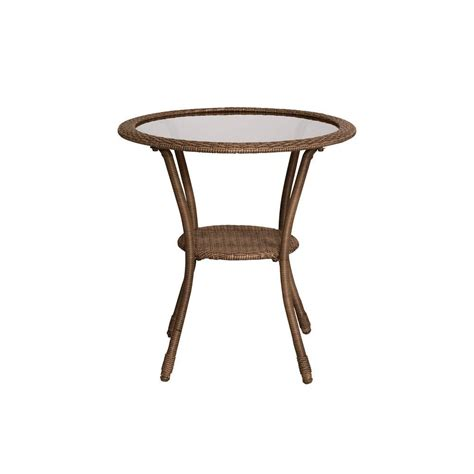 Bistro Patio Tables Hton Bay Brown All Weather Wicker Patio Bistro Table 66 2829 The Home Depot