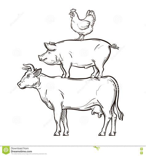 clipart mucca mucca disegnata a mano maiale pollo illustrazione di