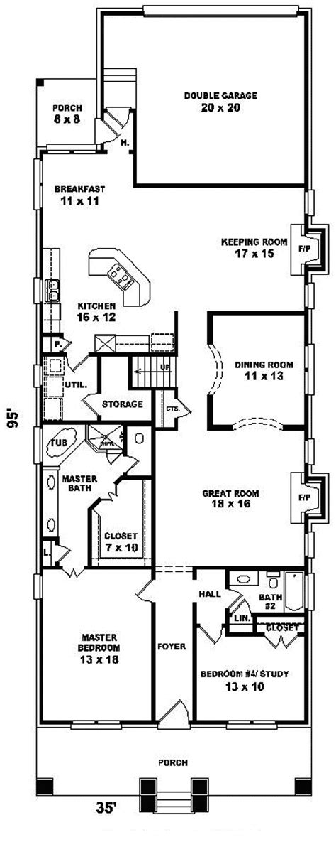 shallow house plans narrow lot 1 level house plans house design plans