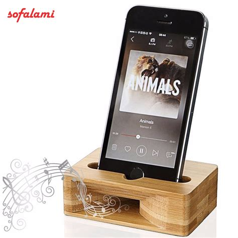 8 Cellphones Holders by Cell Phone Stand Holder Bamboo Wood Dock With Sound