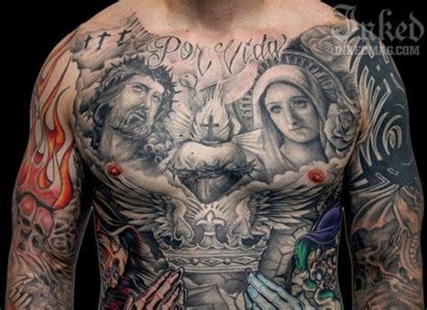 tattoo nightmares official website black and grey religious chest piece by big gus