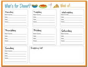 Dinner Meal Planner Template Weekly Lunch Menu Template Calendar Template 2016
