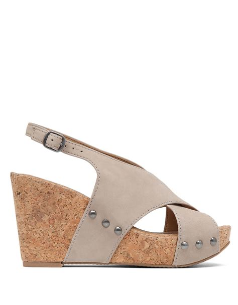 lucky brand minari leather open toe wedge sandals in gray