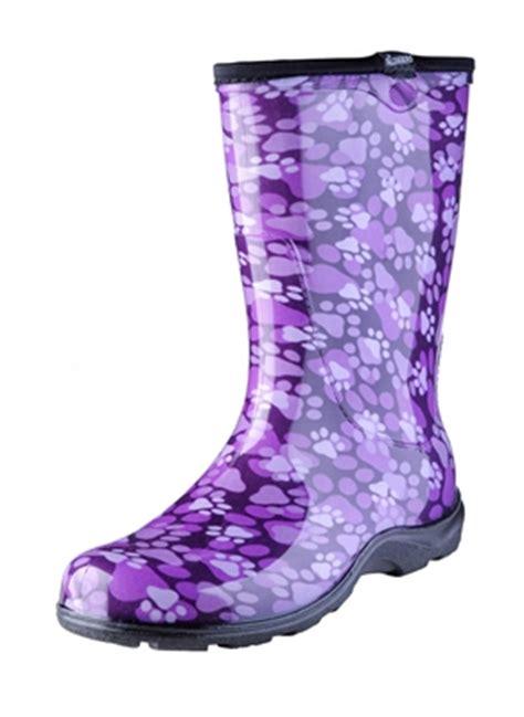 s garden boots paw print purple