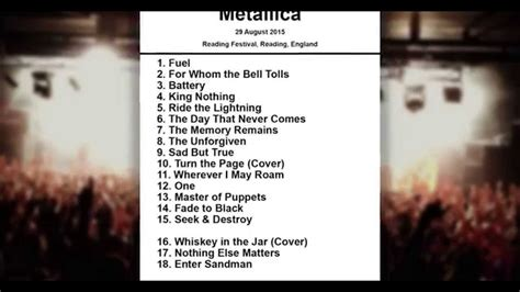 metallica setlist metallica setlist reading festival reading england