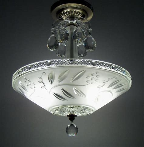 Vintage Ceiling Light Fixtures Vintage Semi Flush Mount Ceiling Light Fixture Antique Deco Glass Chandelier Ebay
