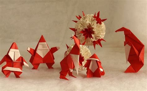 Deco Pere Noel by D 233 Coration De No 235 L En Papier Origami Ou Kirigami
