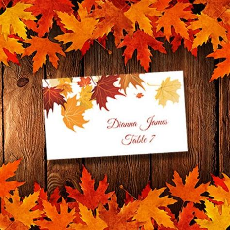Microsoft Template Thanksgiving Place Cards by Printable Place Cards Template Quot Falling Leaves Quot Avery 5302