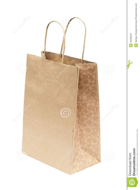 Simple Paper Bag - simple brown paper bag isolated white background