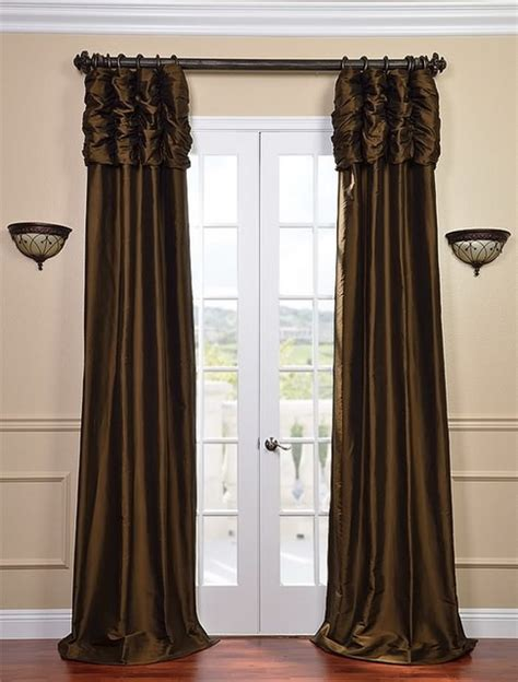 Ruched Chocolate Brown Thai Silk Curtain Traditional